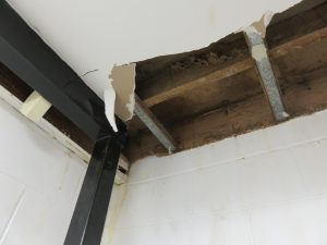 Concealed damage in roof void.